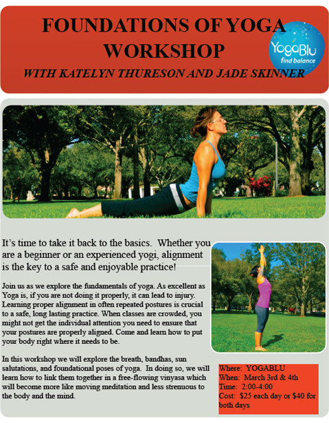 Flyer for Katelyn's and Jade's Foundations workshop at YogaBlu
